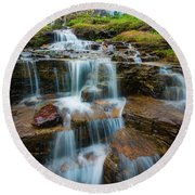 Reynolds Mountain Waterfall Round Beach Towel