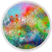 Rhapsody In Blue, And Red, And Green Round Beach Towel