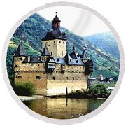 Rhine River Castle Round Beach Towel