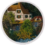Rhine River Cottage Round Beach Towel