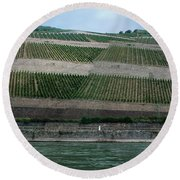 Rhine Valley Vineyards Panorama Round Beach Towel