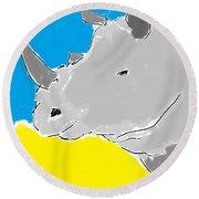 Rhino Drink. Round Beach Towel