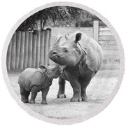 Rhino Mom And Baby Round Beach Towel