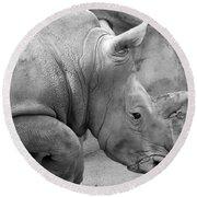 Rhino Profile Round Beach Towel
