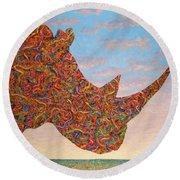 Rhino-shape Round Beach Towel by James W Johnson