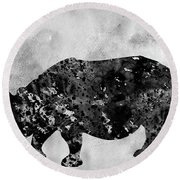 Rhinoceros-black Round Beach Towel