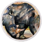 Rhinos In Dappled Shade. Round Beach Towel