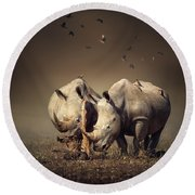 Rhino's With Birds Round Beach Towel