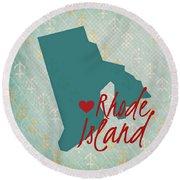 Rhode Island Anchors Round Beach Towel