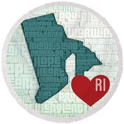 Rhode Island Cities Round Beach Towel