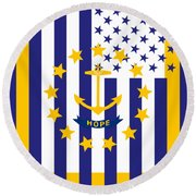 Rhode Island State Flag Graphic Usa Styling Round Beach Towel