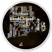 Rhode Island Typographic Map Round Beach Towel