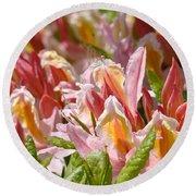 Rhodies Flowers Art Prints Pink Orange Rhododendron Floral Baslee Troutman Round Beach Towel