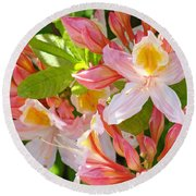 Rhodies Pink Orange Yellow Summer Rhododendron Floral Baslee Troutman Round Beach Towel