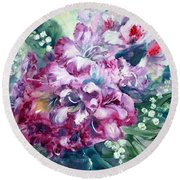 Rhododendron And Lily Of The Valley Round Beach Towel