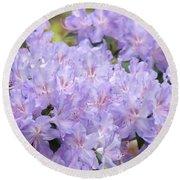 Rhododendron Floral Flowers Lavender Purple Prints Baslee Round Beach Towel