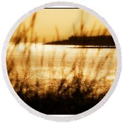 Rhos Point Viewed Through Beach Grass Round Beach Towel
