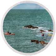 Rhoscolyn Rock Panorama Round Beach Towel