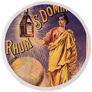 Rhum - Bottle - Earth - Map - Poster - Vintage - Wall Art - Art Print  - Girl  Round Beach Towel