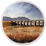Ribblehead Viaduct Round Beach Towel