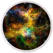 Ribbon Nebula Round Beach Towel