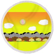 Ribbon Over Mountains Round Beach Towel