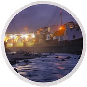 Ribeira Grande At Night Round Beach Towel