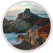 Ribera Beach Sunset Carmel California Round Beach Towel