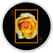 Rich And Dreamy Yellow Rose  With Design Round Beach Towel
