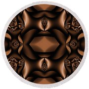 Rich Coffee Fractal Roses Round Beach Towel