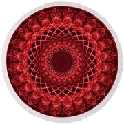 Rich Red Mandala Round Beach Towel