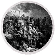 Richard I The Lionheart In Battle At Arsuf In 1191 1877 Round Beach Towel