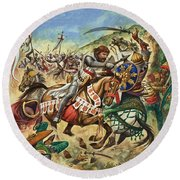 Richard The Lionheart During The Crusades Round Beach Towel