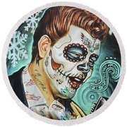 Richie Valens Day Of The Dead Round Beach Towel