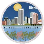 Richmond Virginia Horizontal Skyline Round Beach Towel
