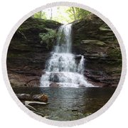 Ricketts Glen Waterfall Round Beach Towel