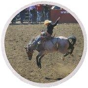 Ride Em Cowboy Round Beach Towel