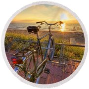 Ride Off Into The Sunset Round Beach Towel