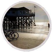 Ride Your Bike To The Beach Round Beach Towel
