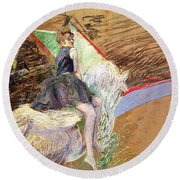 Rider On A White Horse Round Beach Towel by Henri de Toulouse Lautrec