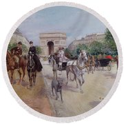 Riders And Carriages On The Avenue Du Bois Round Beach Towel