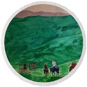 Riders In The Andes Round Beach Towel