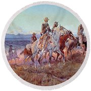 Riders Of The Open Range Round Beach Towel by Charles Marion Russell