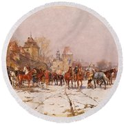 Riders Outside A Village In A Winter Landscape Round Beach Towel