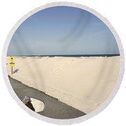 Riding Along Pensacola Beach Round Beach Towel