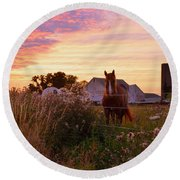 Riding Off Into The Sunset Round Beach Towel