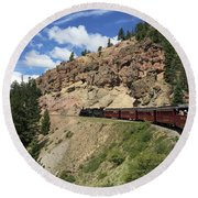 Riding The Cumbres And Toltec Round Beach Towel