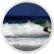 Riding The Waves At Asilomar State Beach Four Round Beach Towel