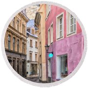 Riga Narrow Road Digital Painting Round Beach Towel
