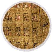 Right Half - The Golden Retablo Mayor - Cathedral Of Seville - Seville Spain Round Beach Towel